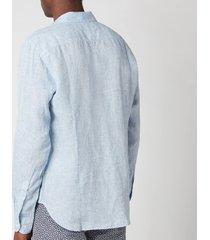 orlebar brown men's giles linen shirt - navy/white - l