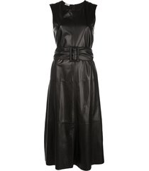 brunello cucinelli textured belted waist dress - black