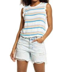 women's bp. ruffle edge tank top, size large - white