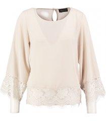 amélie & amélie beige polyester blouse 7/8e mouw