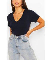 basic super soft v neck t-shirt, navy