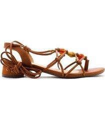 sandália gladiadora salto bloco 4cm sintético cbk feminina - feminino