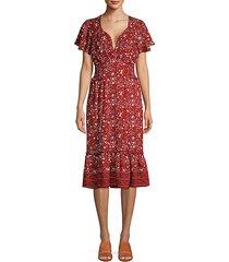 floral flounce-hem dress