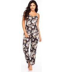 pijama mujer conjunto pant satín negro 11403