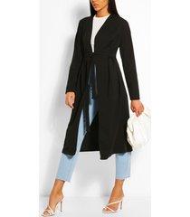 duster jas met ceintuur en ruches, zwart