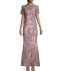 js collections women's soutache gown - rose quartz - size 16
