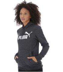 blusão de moletom com capuz puma essentials logo hoody fleece - feminino - cinza escuro
