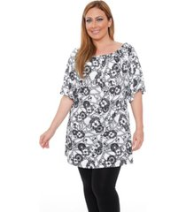 white mark women's plus size rose tunic dress