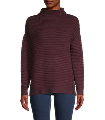 beach lunch lounge women's tylee funnel-neck sweater - burgundy - size xl