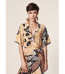 blusa mob cropped estampa floral de cordel estampado - feminina - feminino