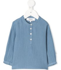 bonpoint band collar crinkle shirt - blue