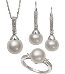 cultured freshwater pearl (8-9mm) & white topaz (1/2 ct. t.w.) jewelry set in sterling silver