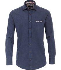 casa moda hemd donkerblauw met zakje