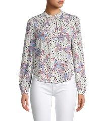 veronica beard women's ashlynn floral stretch-silk blouse - black multi - size 2