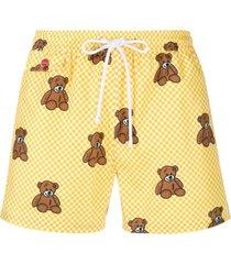 kiton short de natação xadrez com estampa de ursos - amarelo