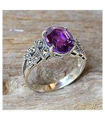 amethyst and marcasite cocktail ring, 'purple queen' (thailand)
