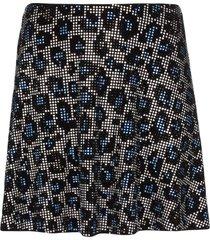 adam selman sport embellished leopard print skirt - blue