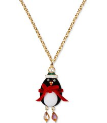 "inc gold-tone crystal & imitation pearl penguin santa long pendant necklace, 32"" + 3"" extender, created for macy's"