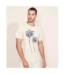 camiseta masculina coqueiros com bolso manga curta gola careca bege claro