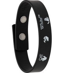 off-white logo print bracelet - black