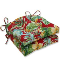 pillow perfect beachcrest poppy reversible chair pad, set of 2
