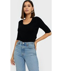 selected femme slfmarge 2/4 knit rib deep o-neck b t-shirts
