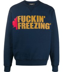 dsquared2 slogan and logo print sweatshirt - blue