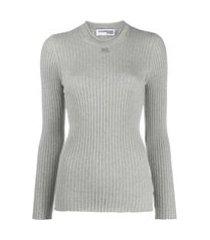 courrèges blusa canelada mangas longas com patch de logo - cinza