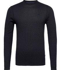 pullover stickad tröja m. rund krage blå blend