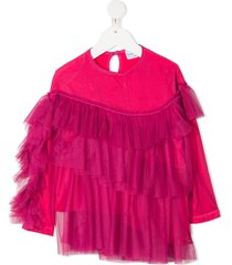 raspberry plum nira tiered tulle blouse - pink