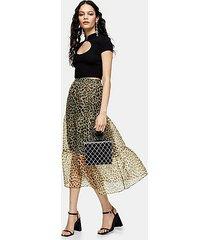 leopard print organza tiered midi skirt - true leopard