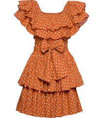 bohemian singoalla dress jurk knielengte oranje by ti mo