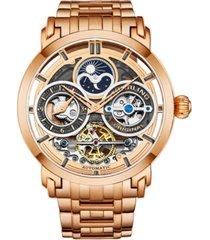 stuhrling men's rose gold stainless steel bracelet watch 47mm
