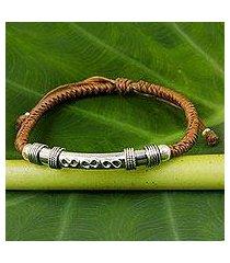 sterling silver pendant bracelet, 'infinite legend in caramel' (thailand)