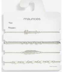 maurices womens silver feather pull knot bracelet set gray