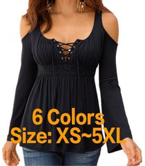 women's strappy v neck cold shoulder long sleeve casual t shirt 6 colors plus