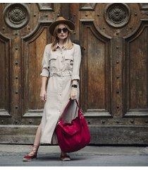 czerwona torba worek z zamszu ekologicznego