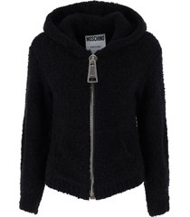 moschino boucle cardigan with maxi zip