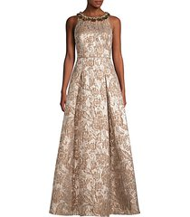 embellished jacquard metallic ball gown
