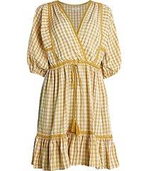puff-sleeve gingham peasant dress
