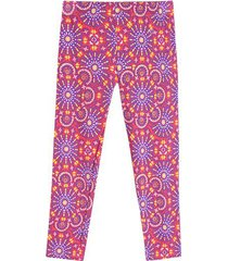 leggings deportivo flores color naranja, talla xs