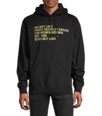 helmut lang men's logo pullover hoodie - black - size m