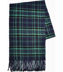 mens navy check reverse scarf
