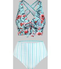 flower striped criss cross knotted tankini swimwear