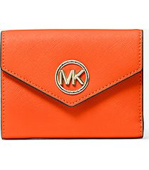 mk portafoglio a tre ante carmen medio in pelle saffiano - mandarancio (arancio) - michael kors