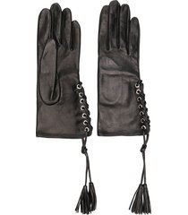 manokhi lace-up gloves - black