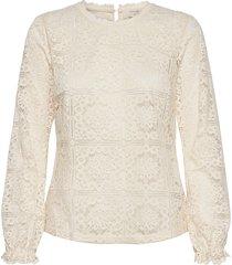 crtiley lace blouse blus långärmad vit cream