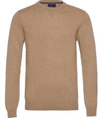 d1. wool cashmere c-neck stickad tröja m. rund krage beige gant