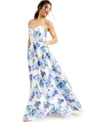 city studios juniors' sparkle floral- dot satin gown, created for macy's