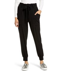 women's gibsonlook cozy belted joggers, size xx-small - black